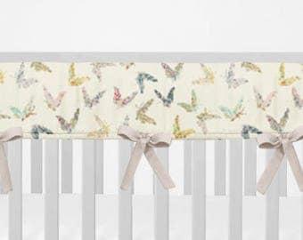 Crib Rail Guard.  Butterflies. Bumperless Crib Bedding. Crib Rail Cover. Butterfly Rail Guard. Pink Rail Guard.