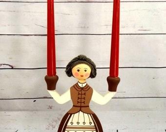 Swedish Candle Holder, Wooden Girl Candlestick Folk Art, 1990s, Traditional, Handpainted Scandinavian Design, Denmark Norway Finland Iceland