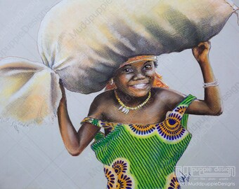 African Child  PORTRAIT Artwork - Realistic Tribes girl DRAWING colourful green dress pastel Wall art African room decoration muddpuppie