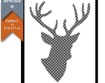 Printed Poster - Stag Style Scandinavian - A4