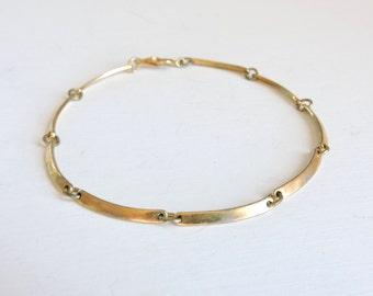Vintage Avon Bracelet, Gold Tone Link Bracelet, Signed Avon Jewelry, Simple Dainty Bracelet, Layering Bracelet, Estate Jewelry