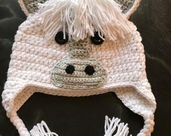 Crochet white horse hat