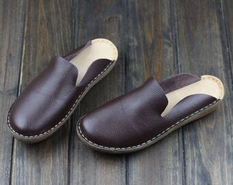 Handmade Slipper Shoes for Women, Summer Shoes, Sandal, Leather Slipper, Simple Shoes,Flat Shoes, Oxford Shoes