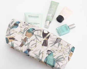 Exotic Bird Cosmetics Case, Parrot & toucan wash bag, tropical birds patterned toiletries bag, Gift for her