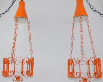 Wrought Iron Lighted Plant Holders Hanging Stands Ceiling Swag Lamps Mid Century Modern Steel Metal Pair of Lights Gothic Orange & Black