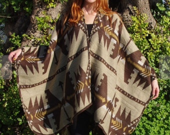 Poncho Tribal Poncho Aztec Poncho Ethnic Poncho Winter Poncho Cape Coat Boho Poncho Womens Poncho  Womens Cape Winter Cape Shawl For Her
