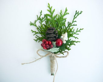 Pine cone boutonniere, Pine cone Buttonhole ,Woodland boutonniere, Rustic boutonniere, Forest wedding, Cedar, Natural boutonniere, Groomsmen