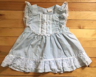 Vintage 1980s Baby Infant Girls Blue Polka Dot Lace Summer Dress! Size 12-18 months
