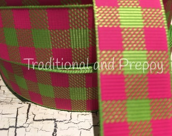 "7/8"" preppy hot pink and green Christmas Outdoor BUFFALO PLAID Grosgrain Ribbon sold by the yard"