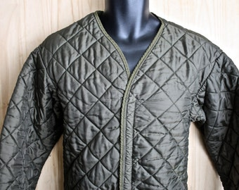 Vintage Dutch Military Jacket Liner/ c. 1970s/ Quilted Nylon Army Jacket/ Kloot Meuburg/ Size XL