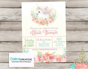 Baby Shower Invitation - Unicorn Shower Invitation - Floral Shower Invitation - Printable Invitation - Personalised - Digital File!