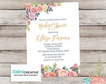 Baby Shower Invitation - Floral Baby Shower Invitation - Bright Watercolor Invitation - Beautiful Shower Invitation - Printable Invitation!