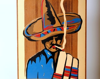 Vintage Painting on California Redwood Mexicana Motif