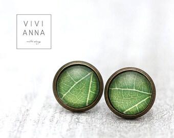 Green leaf glass earrings e316