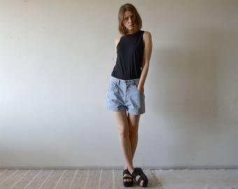 vintage BLUE RUSSIAN light blue denim high waist baggy shorts button fly small medium size 33 / 34
