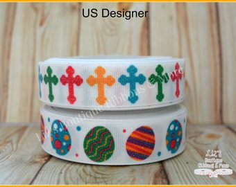 US Designer Ribbon - Easter ribbon- WHITE, 7/8; easter CROSSES, white Easter ribbon,  easter eggs, supplies, glitter, 3yd
