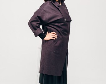 Women purple cardigan - Long aubergine cardigan - Freestyle boho jacket - Woolen woman cardigan - Thin woolen coat - Long sleeve cardigan