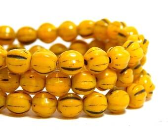 6mm Yellow Beads, Melon Beads, Yellow Melon Beads, Earthy Beads, 6mm Czech Beads, 6mm Glass Beads, Mustard Yellow Beads, 6mm Beads, T-79D