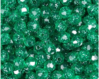 BeadTin Emerald Green Sparkle 8mm Faceted Round Plastic Craft Beads (450pcs)