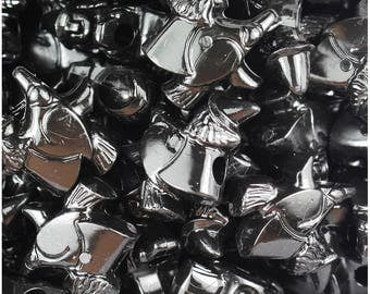 24 Black Opaque 24mm Witch Halloween Themed Pony Beads