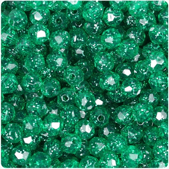 450 Emerald Green Sparkle 8mm Faceted Round Plastic Craft Beads - Made in the USA