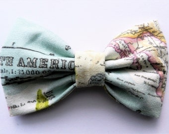 Bow| Bow Brooch| Map Fabric Bow| Brooch