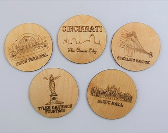 Cincinnati Coasters - Set of 5 wood laser cut