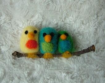 Needle Felted 'Thimble Birds' family of 3