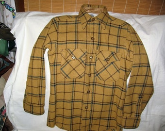 vintage 1970s woolrich wool plaid shirt mens size small