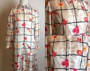 S/M 1970s McMullen Flower Power Shirt Dress Small Medium