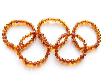 Wholesale. Lot of 5 or 10 Baltic Amber Adult Bracelets, Polished Cognac Color Beads