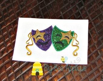Mardi Gras Mask Machine Applique Embroidery Design
