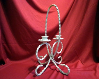 White Double Candelabra, Rope Twisted Iron by Home Interiors, Homco, Beautiful Condition