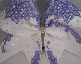 Cheer Bow Sublimated Lace Royal Blue on White Grosgrain w AB Chrystal Rhinestones