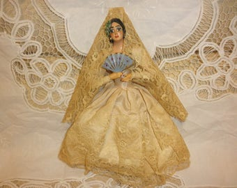 Culture Spain Dancer with Lace Mantilla and Dress