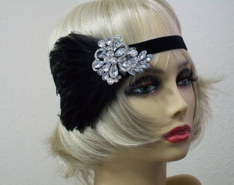 Great Gatsby headpiece, 1920s headpiece, Flapper headband, Flapper dress, Feather headband, Rhinestone headband, 1920s accessories