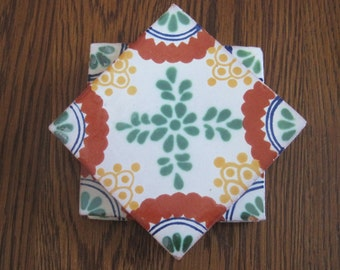 Green Yellow and Red Mexican Folk Art Tile Drink Coasters