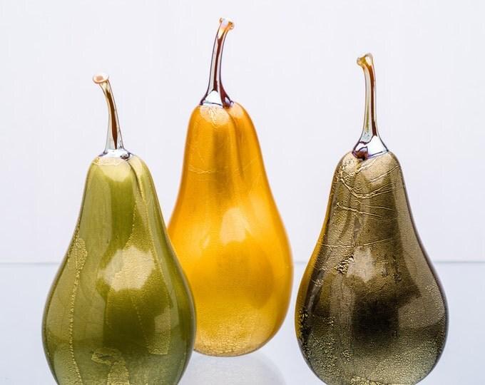 Gold Foil Pears Sculptures