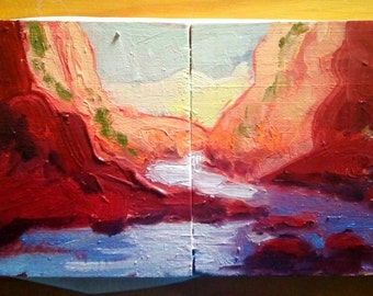 customized painting, diptych, impasto, abstract landscape, ravine, maria maza, creek painting, slot canyon, apartment therapy, made to order