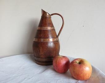 French vintage Brass & Wood wine jug, ewer/ cidre  pitcher /barware/coopered barrel/Home decor/Margalide