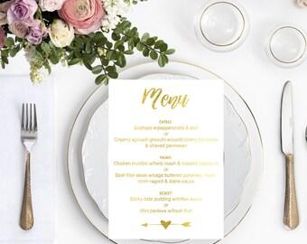 Wedding Menu's, custom wedding, real gold foil, gold menu's, gold wedding menu's, wedding stationary, real gold foil wedding menus