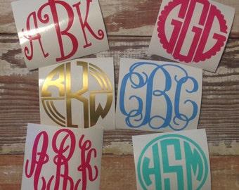 "Vinyl Monogram Decal, Vine intertwine circle scallop curlz monogram, 2"" monogram, 3"" monogram, 4""monogram, 5"" monogram"