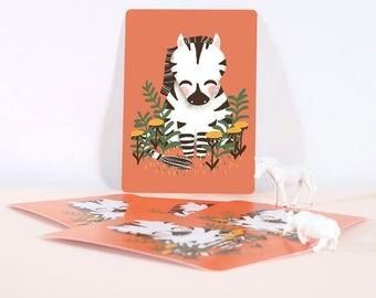 Card - Les Animignons :  the Zebra