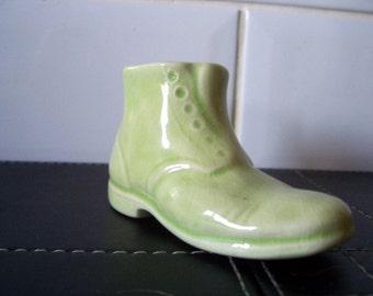 Rare Hornsea Pottery Plain Boot in Green 1950's