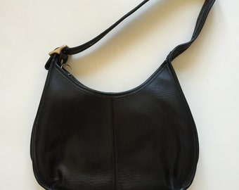 Vintage Black Leather Coach Hobo Bag