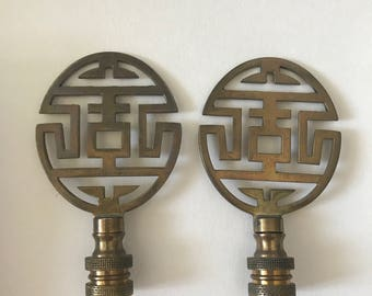 Pair of Vintage Brass Chinese Lamp Finials