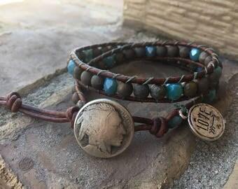 Wrap Bracelet, Beaded Wrap Bracelet, Brown and turquoise Wrap Bracelet, Leather Wrap Bracelet, Double Wrap Bracelet