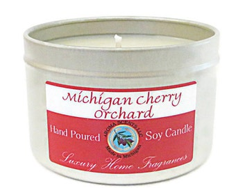 Michigan Cherry Soy Candle -  Made in Michigan Candles - Strong candles - Cherry Bomb - Black Cherry - Tart Cherry - 8 oz candle in tins