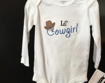 Lil' cowgirl baby onesie, Cowboy shirt, cowboy one piece, cowgirl one piece, cowgirl shirt, wester baby shirt