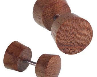 Fake wood plug teak wood screw medium brown grain of course body piercing (OHP-183)